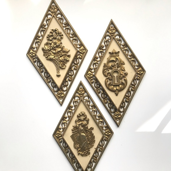 American Vintage Other - Vintage Syrocowood 3pc Gold Rhombus Wall Decor